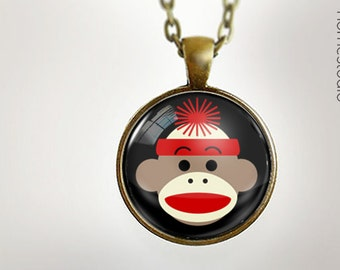 Sock Monkey BLK : Glass Dome Necklace, Pendant or Keychain Key Ring. Gift Present metal round art photo jewelry HomeStudio. Silver Bronze