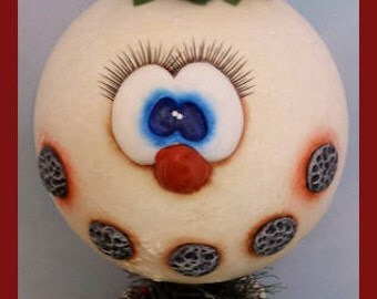 hand painted snowman gourd make do nodder winter cardinal bird pinecone pine holly prim chick lisa robinson teamhaha ofg