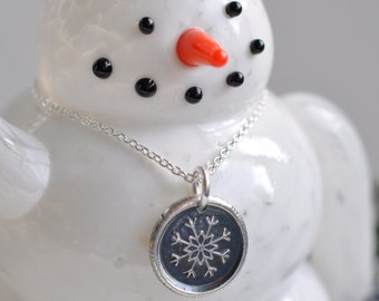 snowflake pendant - snowflake wax seal necklace ... let it snow - silver wintery wax seal jewelry - lovely winter gift