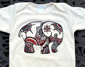 Certified Fair Trade Organic Cotton Elephant Onesie, Unisex, Handmade, Original Artwork, Baby Girl, Baby Boy, Boho Baby Clothes, Baby Shower
