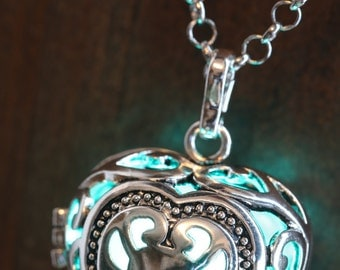 Heart Pendant Heart Jewellery Glowing Necklace - Heart Locket with teal blue glowing Orb- Lovely Valentine Gift for Her - LED jewelry