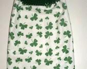 Shamrock Hanging Towel - St Patricks Day Towel - Crochet Top Towel - Irish Hanging Towel - Microfiber Tea Towel - Lucky Irish Hand Towel