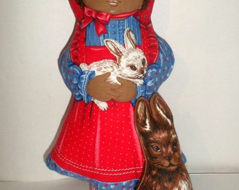 Rare Rachel Doll Pillow - Rachel and Rabbit Doll Pillows - African American Girl Doll Pillow - Pillow Doll - Stuffed Rabbit - Stuffed Doll