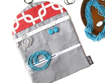 Earring Holder. Travel Bag Gift Idea. Modern Chain Links Coral Jewelry Roll Travel Organizer. Flight Attendant Gift. Birthday Gifts for Her