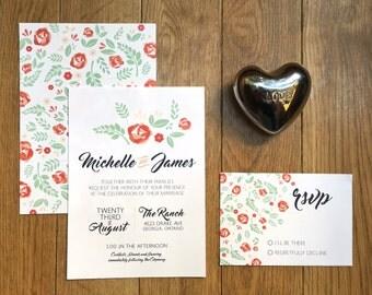 floral wedding invitation set printable - floral wedding template - diy wedding invitations