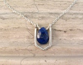 Lapis Lazuli Pendant with Sterling Silver Geometric Link - Short Layer Necklace - Modern Minimalist Necklace - Navy Blue Necklace