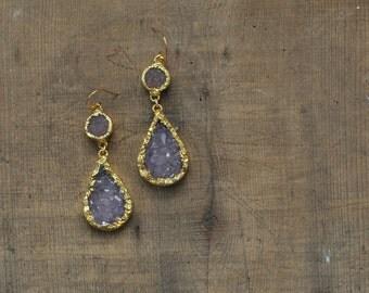 Purple Amethyst Teardrop Druzy Statement Dangle Earrings in Gold EDR22
