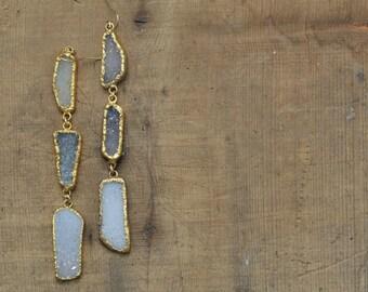 Blue Grey Long Asymmetric Druzy Statement Dangle Earrings in Gold
