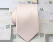 Mens Tie David's Bridal Petal Inspired Pale Pink Wedding Ties Pastel Angel Blush Pink Silk Necktie with Matching Pocket Squares Option
