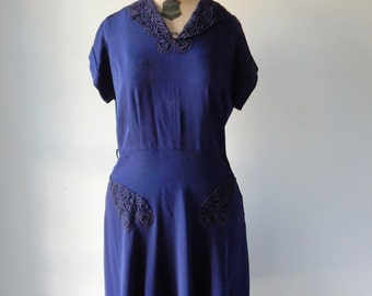 Vintage 1940's French Lace Navy Blue Dress L / XL