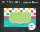 INSTANT DOWNLOAD - DIY Blank Business Card Template - Premade Business Card Set - Lucy and Polka Dots