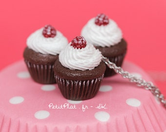 Chocolate and Raspberry Cupcake Necklace, Miniature Food Jewelry