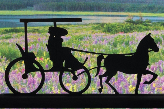 Couple in a Horse Drawn Buggy Handmade Wood Display Silhouette strh005
