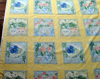 Isabelle De Borchgrave for Bloomcraft Yellow flowered squares 7 yards Material Fabric