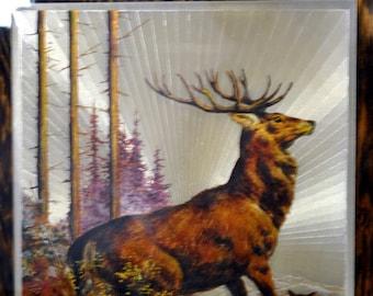 "Vintage 1970s Deer Buck and Family  Decoupage Art Wall Plaque Board 11 x 14"" - Metallic Highlights"
