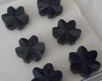 Set of 6 VINTAGE Chunky Carved Look Navy Blue Plastic Flower BUTTONS
