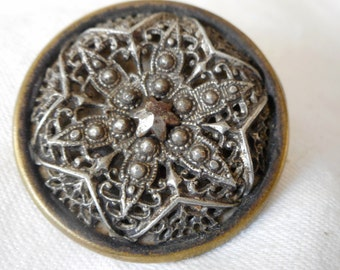 Large ANTIQUE Pierced Metal Star Flower with Cut Steel Center BUTTON