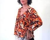 Wishful Heart, 90s Doing 70s Top, MOD Orange HEARTS Print Jacket, Psychedelic Top, Retro Bolero, 70s Style Rayon Crepe Top Size M L