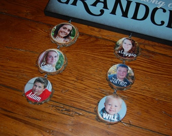 GRANDCHILDREN Ornaments Only- Custom name ornaments with photo- 2 1/2""