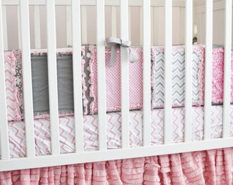 Pink Ruffle Crib Skirt, Pansy Pink Dust Ruffle, Long Crib Skirt, Cottage Chic Nursery, Pink Dust Ruffle, Baby Crib Skirt, Girl Crib Bedding