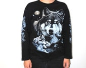 vintage wolf shirt 90s long sleeve animal graphic tee tshirt medium