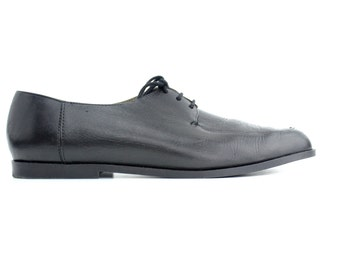 size 9 | Vintage Black Oxfords | Esprit Lace-up Shoes | Minimal Blucher | 40