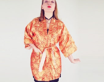 Vintage Gold and Red Brocade Happi Coat - Made in Japan