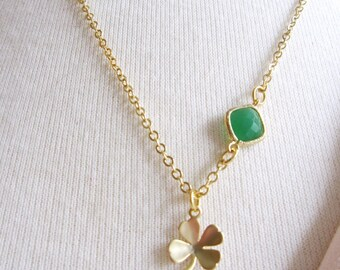 Gold Shamrock Necklace, Emerald green, Modern, St. Patricks day, Gift for her, Spring Necklace, Irish, Shamrock Charm, Good Luck, Gardendiva