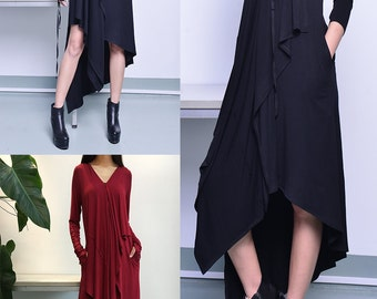 Music Flows - Black Extravegant Tunic dress / Thumbhole maxi Blouse / Long Sleeve dress Asymmetric Kaftan / Asymmetric Maxi dress (Q1712)