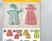Baby Sewing Pattern Simplicity 4243 Romper Hat Sundress Bloomer Boy Girl Sizes Newborn 3 6 9 12 18 months UNCUT