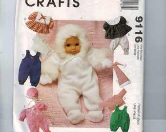 Craft Sewing Pattern McCalls 9116 Doll Sewing Pattern Baby Doll Clothes 16 Inch UNCUT