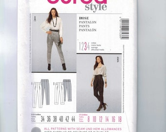 Misses Sewing Pattern Burda 7438 Misses Pants Tapered with Cuff Size 8 10 12 14 16 18 UNCUT  99