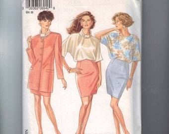 1990s Sewing Pattern New Look 6940 Misses Kimono Sleeve Blouse Slim Skirt Jacket Size 8 10 12 14 16 18 Bust 34 36 38 40 42 4 90s UNCUT