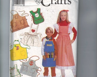 Kids Craft Sewing Pattern Simplicity 7048 Boys Girls Hostess Apron Craft Smock Boys Girls UNCUT
