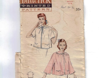 1950s Vintage Sewing Pattern Butterick 5807 Misses Bed Jacket Size Medium 16 18 Bust 34 36 50s