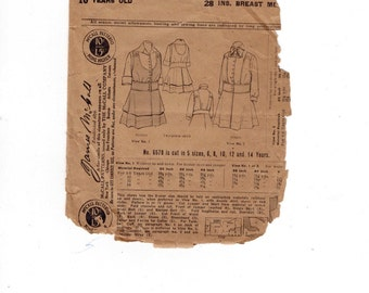 1910s Vintage Sewing Pattern McCalls 6578 Girls Dress Size 10 Years