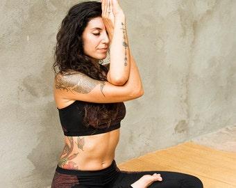 New! KARMA SPORTS BRA - Organic Yoga top Hippie Faery Fairy Pixie Boho Burning man Sport Athletic Goa - Black Red Paisley