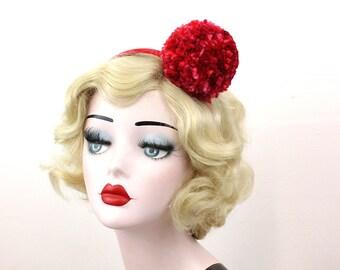 Red Pom Pom Headband, Girls or Women's  Headpiece, Photo Prop, Clown Costume, Halloween Costume, Cosplay, Vintage Circus, Hair Accessory
