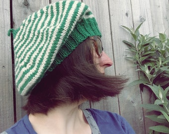 Knitted Beret, striped Pixie, Gnome hat BUNTY in Parchment, Emerald by Fairysteps 3063