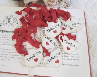 Alice Favor Tags Teapot & Teacup with Ribbons - Drink Me Sparkle Hearts - Set of 12 Choice of Ribbons - Mad Tea Party Hatter