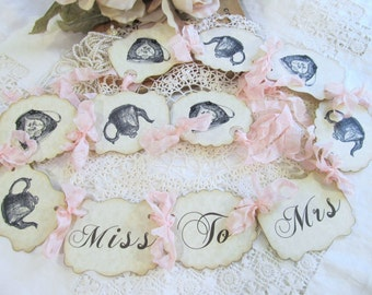 Bridal Shower Banner Tea Party Shower Garland Bunting - Miss to Mrs - Alice Teapot Teacup Tea Time - Choose Ribbons & Size - Bride to Be
