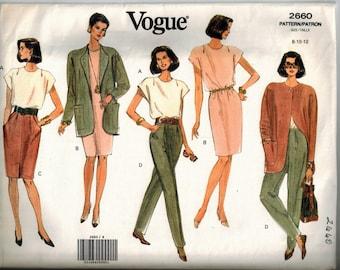 Vintage 1991 Vogue Dress Jacket Top Skirt & Pants Sewing Pattern Sizes 8-10-12 Pullover Dress Loose Fit Jacket Straight Skirt Cap Sleeves