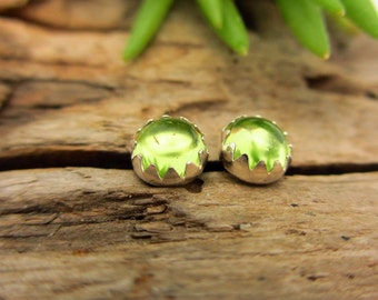 Arizona Peridot Cabochon Studs; 14k Gold or Sterling Silver American Gemstone Stud Earrings - 4mm Low Profile Serrated Earrings