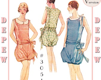 Vintage Sewing Pattern Reproduction Ladies' 1920's Romper #3051 - Full Sized PAPER VERSION