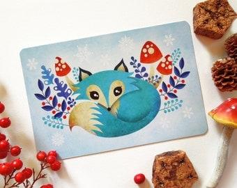 Winter Fox Postcard, Blue Fox, Whimsical Animals Limited Edition Postcard Postcrossing