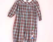 Vintage toddler romper red and green plaid 18 to 24 months