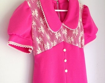 Vintage girl's maxi dress hot pink size 5t lace bodice