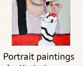 Acrylic Girl Portrait Art Painting Original. Cherry Ice Cream Soda. Home Wall Art Decor. Kitchen Wall Hanging. Gift for Her Apartment Art