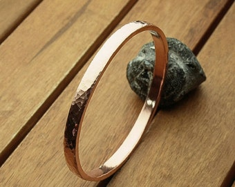 Wide copper bangle | hammered 6 mm copper bangle | heavy bangle | copper bracelet | women's bangle | men's bangle | made to order