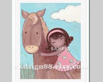 Farm nursery decor - baby girl nursery art - baby decor - girls room art - horse painting, African adoption - I Care  8x10